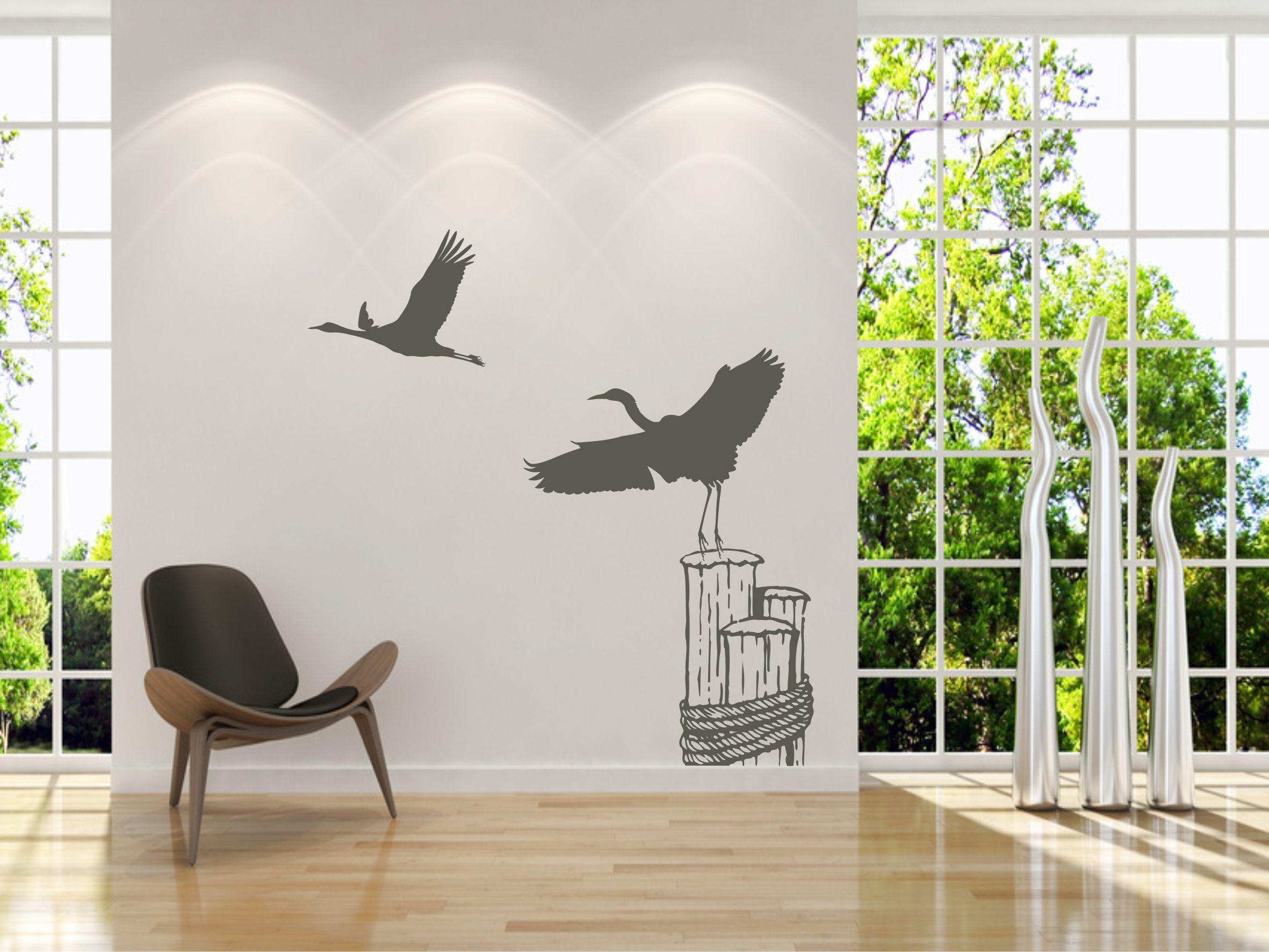 wandtattoo kraniche am himmel aufkleber. Black Bedroom Furniture Sets. Home Design Ideas
