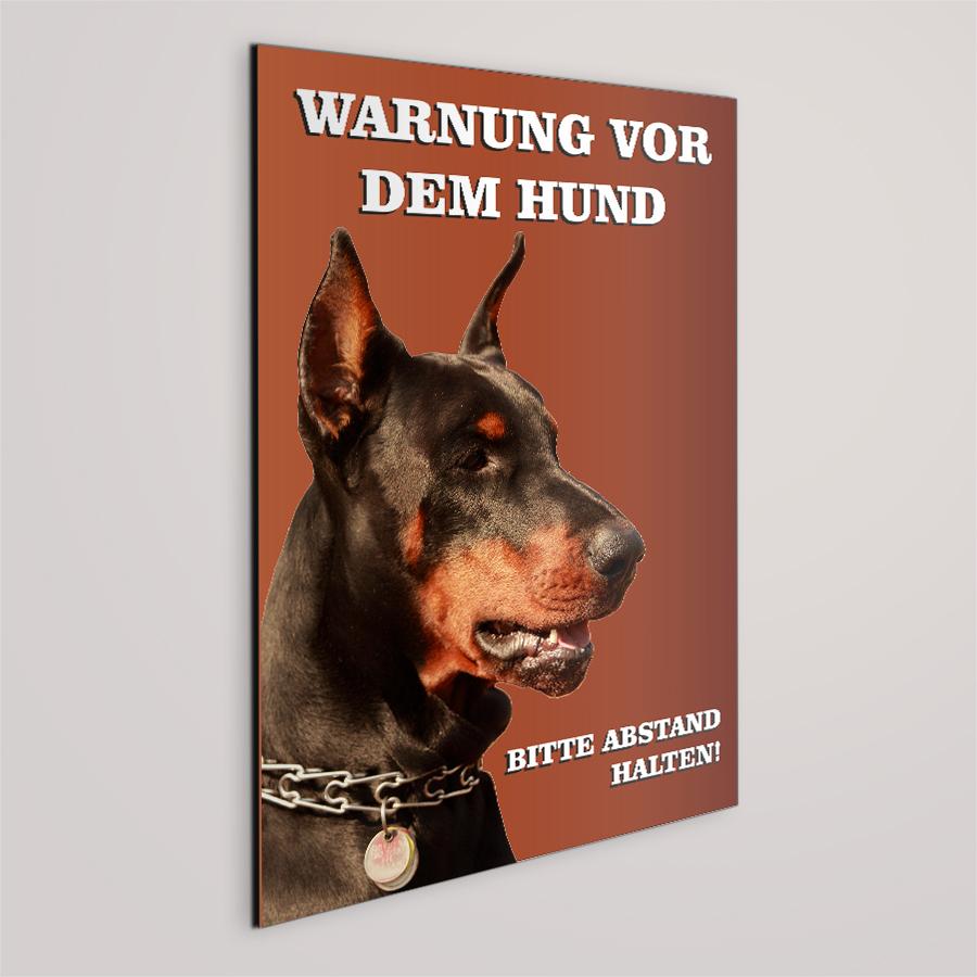 hunde schild dobermann warnung vor dem hund schild. Black Bedroom Furniture Sets. Home Design Ideas