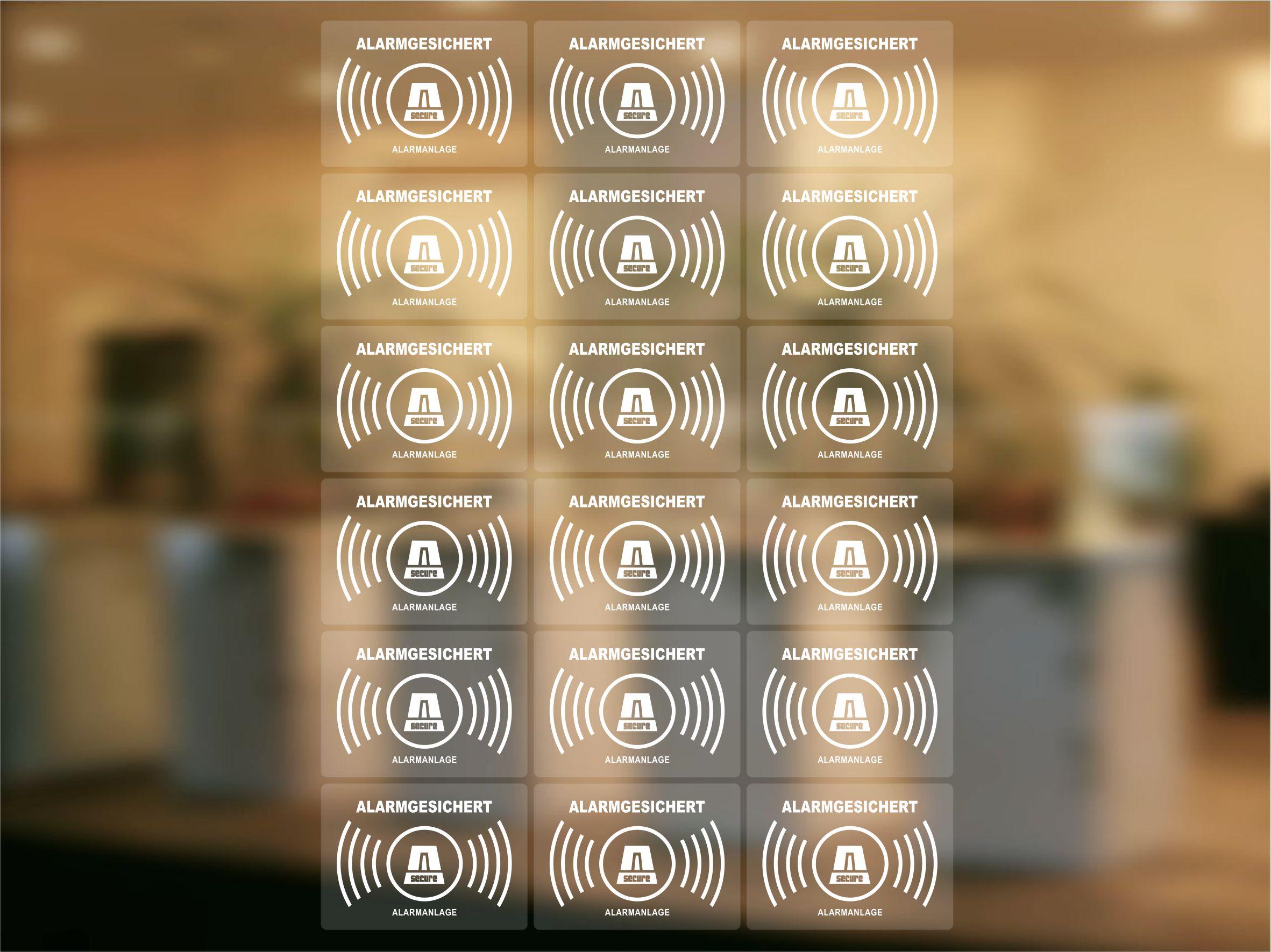 Alarmanlagen Aufkleber 18 Stück Alarmgesichert