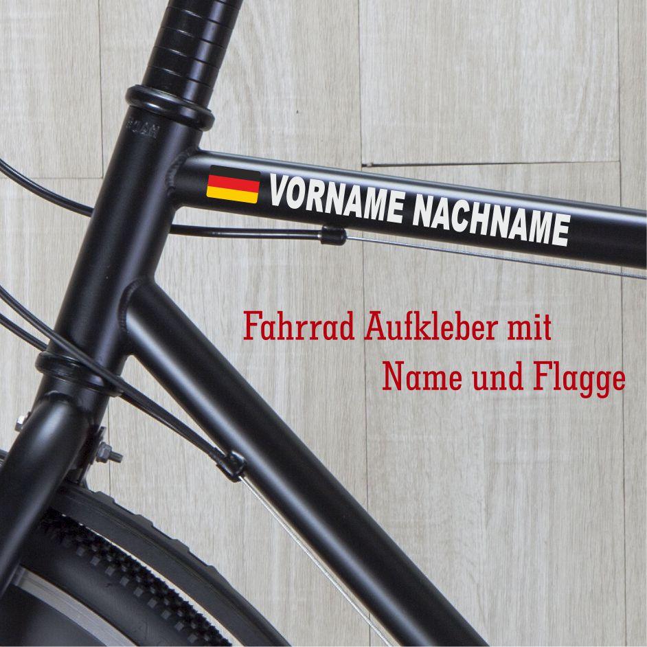 Fahrrad Aufkleber Mit Name Und Flagge Namensaufkleber
