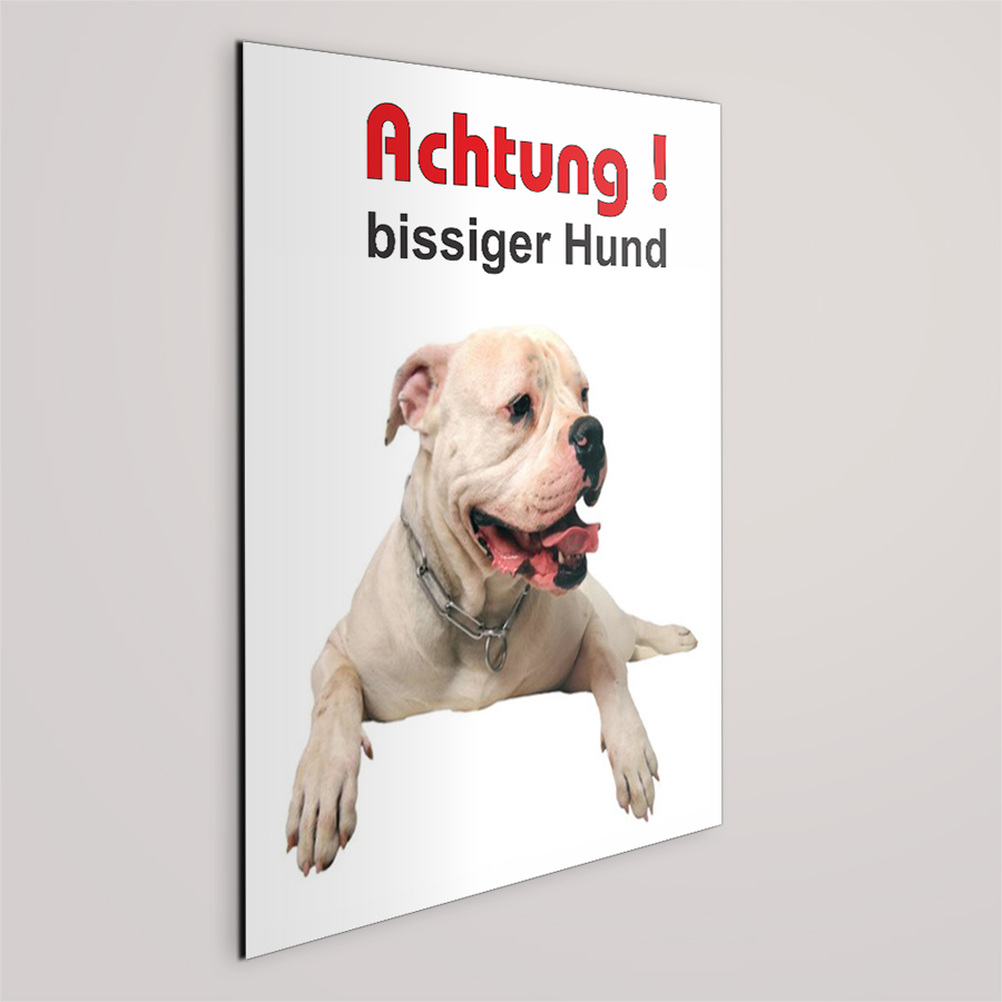 schild achtung bissiger hund american bulldog. Black Bedroom Furniture Sets. Home Design Ideas