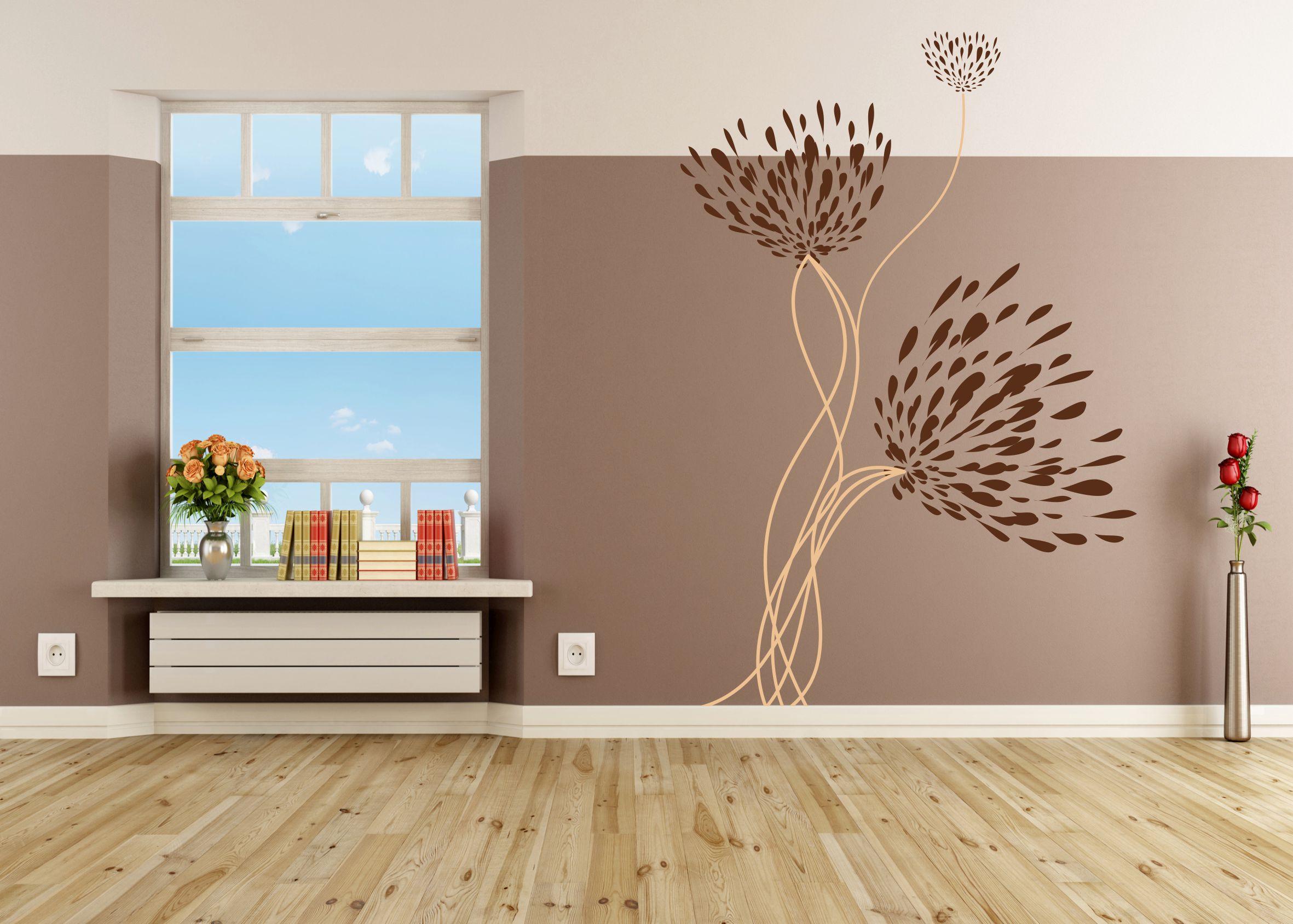 wandtattoo floral zweifarbig. Black Bedroom Furniture Sets. Home Design Ideas