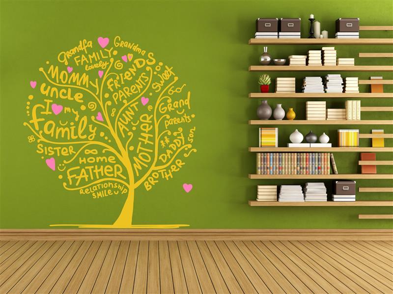 Wandgestaltung familien baum zweifarbig - Wandgestaltung zweifarbig ...