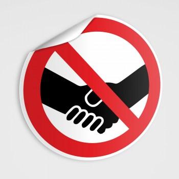 Aufkleber Bitte keine Hände schütteln