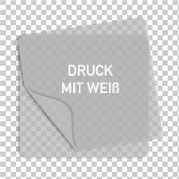 transparente Aufkleber mit Weißdruck