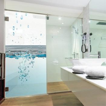 Glasdekor Dusche, Wassertropfendruck auf Glasdekorfolie in Sandstrahloptik