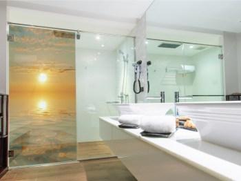 Duschkabine Dekor, Sonnenuntergang Glasdekor Dusche