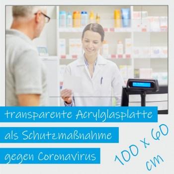 Acrylglas Platten zum Schutz für Kassen und Arztpraxis, transparente Platten 100 cm x 60 cm Spucken Schutzscheibe