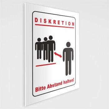 Diskretion - Bitte Abstand halten! Schild, incl. Schaumstoffklebepunkten zur Befestigung geliefert! DIN A5 (14,8 x 21,0 cm)