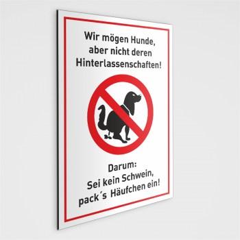 Hundekot Schild - Sei kein Schwein - DIN A5 - mit Selbstklebepunkten geliefert