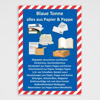 Blaue Tonne Aufkleber, Altpapier,Papier, Pappe