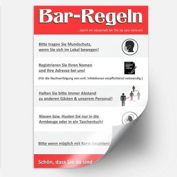 Aufkleber Bar Corona Regeln