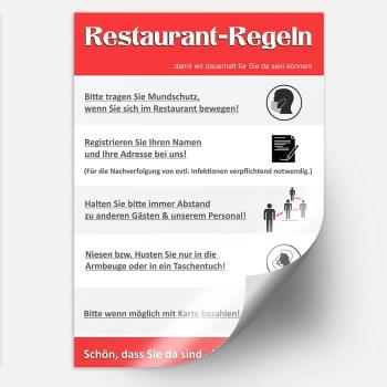 Aufkleber Restaurant Corona Regeln