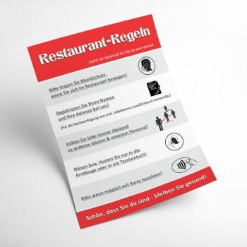 Plakat Restaurant Corona Regeln