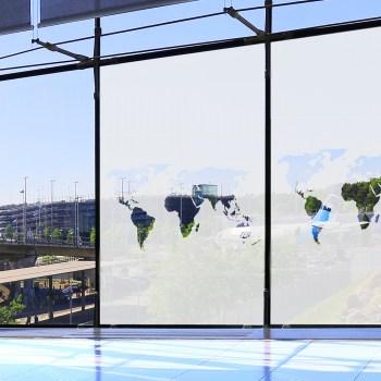 Ätzglasfolie selbstklebend - Weltkarte Fensterfolie