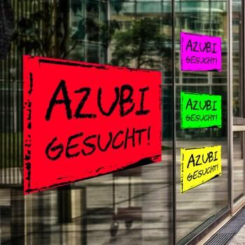 Azubi gesucht Aufkleber als Neonklebefolie