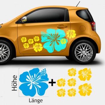 Autoaufkleber Hibiskus Blüte (als Paar geliefert)
