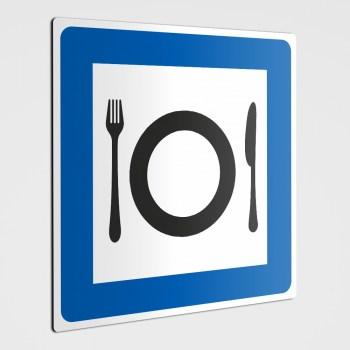Gastronomie Schild oder Aufkleber Teller, Messer und Gabel