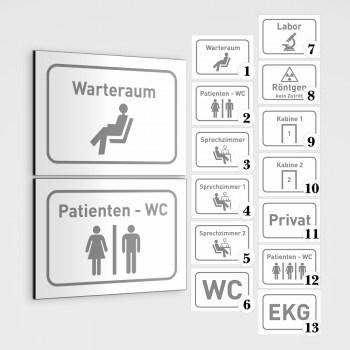 Arztpraxis Beschilderung - Wartezimmer Schild, WC, Labor Schild, Privat Schild