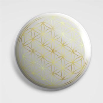 3D Aufkleber - Lebensblume Weiß auf Gold, 3 Stück