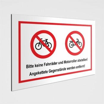 Bitte keine Fahrräder und Motorroller abstellen! Verbotenschild