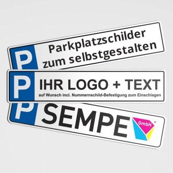 Parkplatzschild - Mit Ihrem Wunschtext und Logo