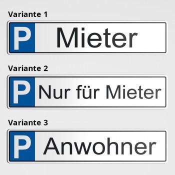 Parkplatz für Mieter - Anwohner Stellplätze