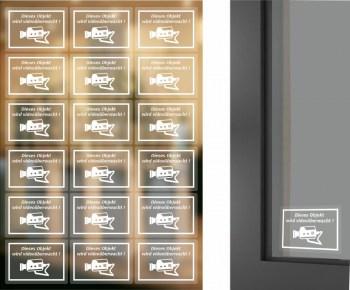 18 Stück DIN A4 Stickerbogen, Objekt wird videoüberwacht Aufkleber auf transparente Folie zur Innenverklebung und von Außen lesbar