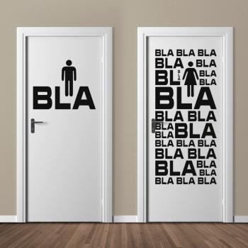 WC Hinweisaufkleber BlaBla