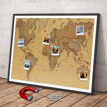 Weltkarte aus eisenhaltiger Folie als Pinnwand zum einrahmen