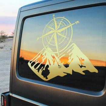 Aufkleber Kompass Berge