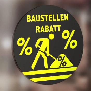 Baustellen Rabatt Aufkleber neongelb, Aktion Prozente Baustellenrabatt