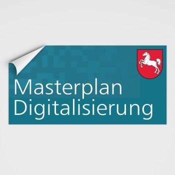Aufkleber Masterplan Digitalisierung, stark haftend