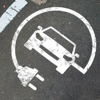 Schablone Elektro Auto, Parkplatzmarkierung