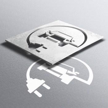 PVC Schablone Elektro Auto, Parkplatzmarkierung