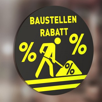 Saugnapffolie Rabatt Aufkleber schwefelgelb, Aktion Prozente Baustellenrabatt