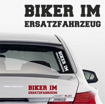 Aufkleber Biker im Ersatzfahrzeug