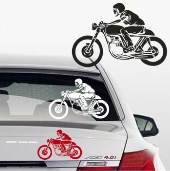 Autoaufkleber Motorradfahrer