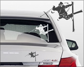 skiing Autoafkleber Ski-Aufkleber