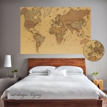 Weltkarte als Aufkleber oder Poster selbstklebend, Wandtattoo world map in antik Optik