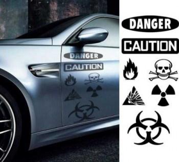Autoaufkleberset Danger - Caution  (als Paar geliefert)