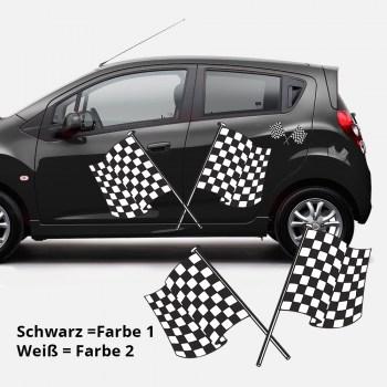 Autoaufkleber Flagge Duo 1 zweifarbig,  Als Paar geliefert, ...für die Fahrer- und Beifahrerseite.