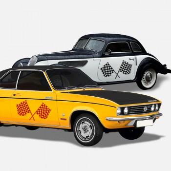 Autoaufkleber Flag Duo 1 einfarbig ,  als Paar geliefert, ...für die Fahrer- und Beifahrerseite.