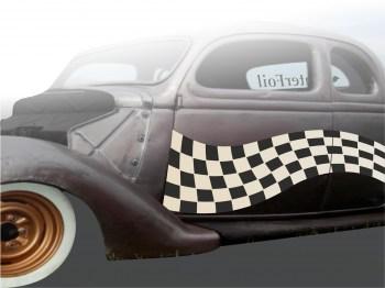 Autoaufkleber Single Flag 1 zweifarbig,  als Paar geliefert , für die Fahrer- und Beifahrerseite.