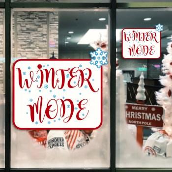 Wintermode-Sale als Aufkleber oder als Adhäsionsfolie erhätlich.
