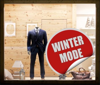 Wintermode-Rabatt als Aufkleber oder als Adhäsionsfolie erhätlich.
