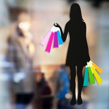 4- Shopping Druckaufkleber mit freigestelltem Umriss!