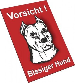 Bullterrier Schild - Vorsicht Bissiger Hund!