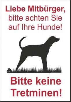 Hundekot Schild - Bitte keine Tretminen!