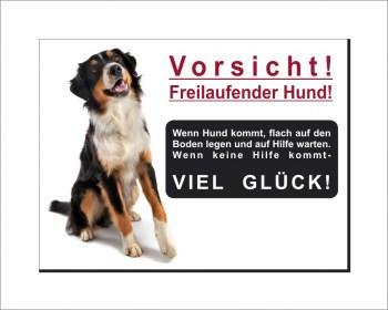 Bernersennen Hunde Schild - Vorsicht! Freilaufender Hund